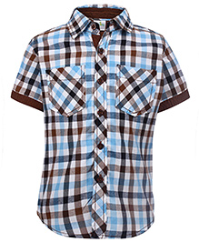 Babyhug Half Sleeves Shirt Check Pattern - Brown And Blue