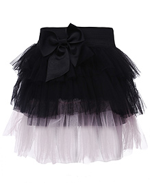 Babyhug Layer Pattern Skirt Bow Detail - Black And Light Pink