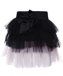 Babyhug Layer Pattern Skirt Bow Detail - Black And Light Pink
