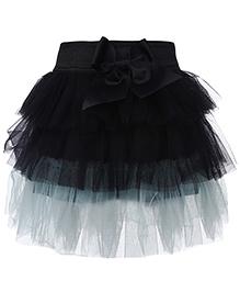 Babyhug Layer Pattern Skirt Bow Detail - Black And Aqua