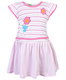 Babyhug Short Sleeves Frock Floral Patch - Pink