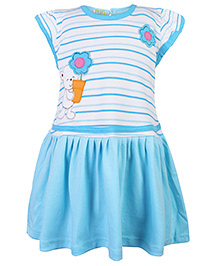 Babyhug Short Sleeves Frock Floral Patch - Blue
