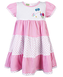 Babyhug Short Sleeves Frock Butterfly Patch - Pink And White