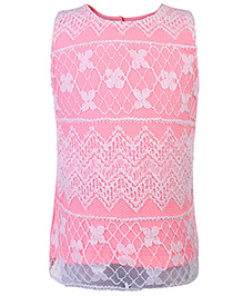Babyhug Sleeveless Top With Floral Lace - Pink And White