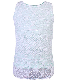 Babyhug Sleeveless Top With Floral Lace - Mint Green And White