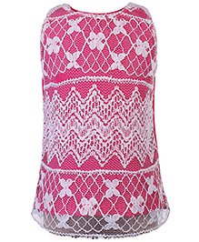 Babyhug Sleeveless Top With Floral Lace - Dark Pink And White