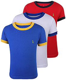 Babyhug Round Neck T-Shirt Solid Colors Pack Of 3 - Blue White Red