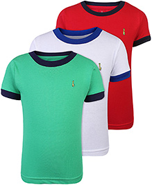 Babyhug Round Neck T-Shirt Solid Colors Pack Of 3 - Green Red White