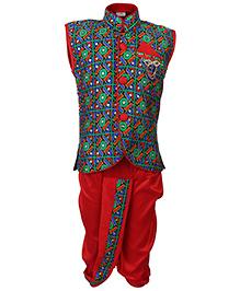 Babyhug Sleeveless Kurta And Dhoti Set Embroidered - Black And Maroon