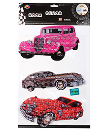 3D Wall Sticker Vintage Cars - Multicolour