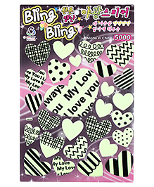 Bling Bling Decoration Stickers Hearts Design - Green