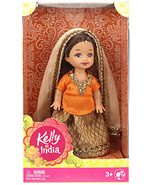Barbie Kelly In India Doll Orange And Beige - Height 11 Cm