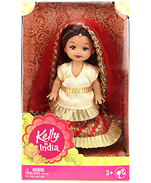 Barbie Kelly In India Doll Cream And Red - Height 11 Cm