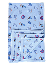 Tinycare Baby Towel Animal Face Print - Blue