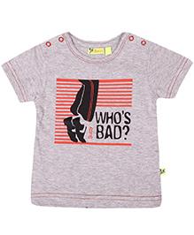 Buzzy Paxton Half Sleeves Printed T-Shirt - Melange Grey