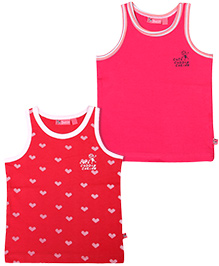 Buzzy Sleeveless Vest Pack Of 2 - Red And Pink