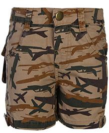 Babyhug Shorts Plane Camouflage Print - Khaki Brown