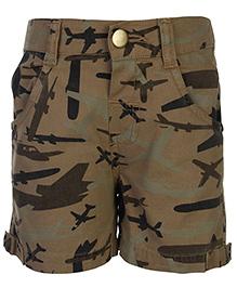 Babyhug Shorts Plane Camouflage Print - Pale Brown