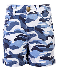 Babyhug Shorts Camouflage Print - Blue And White
