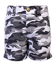 Babyhug Shorts Camouflage Print - White And Grey
