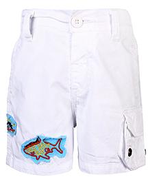 Babyhug Bermuda Shorts Great White Bay Patch - White