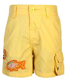 Babyhug Bermuda Shorts Great White Bay Patch - Yellow