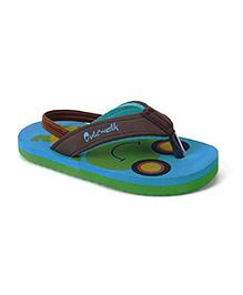 Cute Walk by Babyhug Flip Flops With Back Strap Frog Design - Aqua