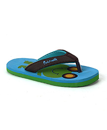 Cute Walk by Babyhug Flip Flops Frog Design - Aqua