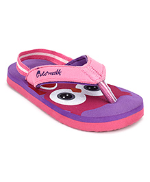 Cute Walk by Babyhug Flip Flops With Back Strap Owl Design - Purple