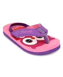 Cute Walk by Babyhug Flip Flops With Back Strap Owl Design - Pink