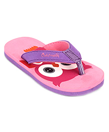 Cute Walk by Babyhug Flip Flops Owl Design - Pink