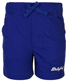 Babyhug Shorts With Drawstring Logo Embroidery - Royal Blue