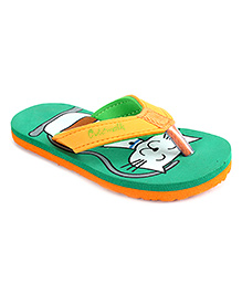 Cute Walk by Babyhug Flip Flops Cat Design - Green Orange