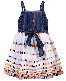 Babyhug Singlet Dress With Dotted Print - Blue And White
