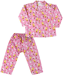 Babyhug Full Sleeves Night Suit Teddy Bear Print - Pink