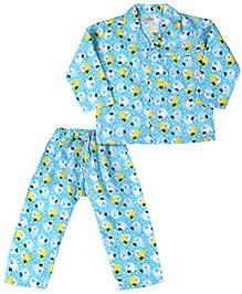 Babyhug Full Sleeves Night Suit Teddy Bear Print - Sky Blue