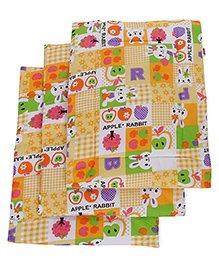 Babyhug Multi Purpose Baby Mat Apple Rabbit Print Set Of 4 - Yellow