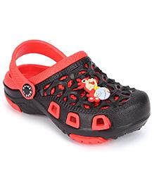 Cute Walk Clogs Squirrel Motif - Black And Red