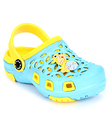 Cute Walk Clogs Squirrel Motif - Blue And Yellow