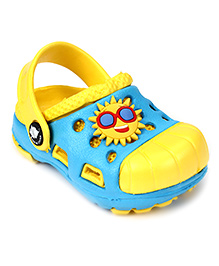 Cute Walk Clogs With Back Strap Sun Motif - Aqua Blue And Yellow