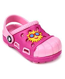 Cute Walk Clogs With Back Strap Sun Motif - Pink