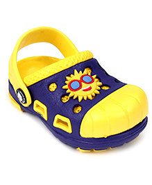 Cute Walk Clogs With Back Strap Sun Motif - Dark Blue And Yellow