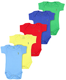 Babyhug Half Sleeves Onesies Solid Colors - Pack Of 5