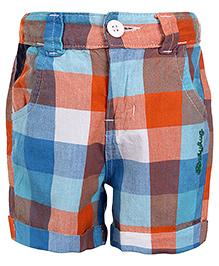Babyhug Checks Shorts With Four Pockets - Orange And Turquoise