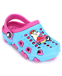 Cute Walk Clogs Vehicle Motif - Sky Blue And Pink