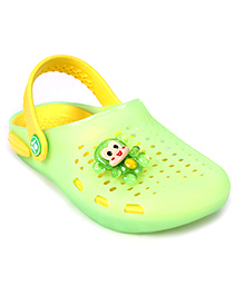 Cute Walk Clogs With Back Strap Monkey Motif - Green And Yellow