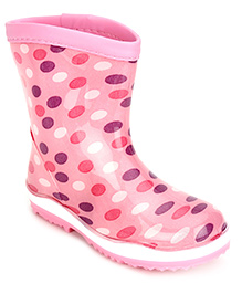 Cute Walk Rain Boots Dot Print - Pink