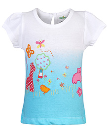 Babyhug Short Sleeves Top Embroidery Work - White And Sky Blue