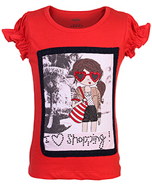 Babyhug Puff Sleeves Top I Love Shopping Design - Red