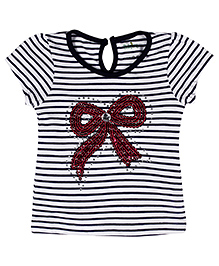 Babyhug Short Sleeves Striped Top Bow Design - Navy Blue